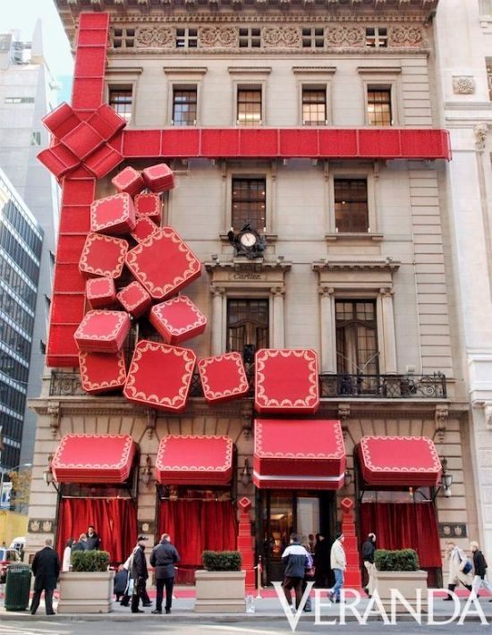 The Cartier Boutique wrapped in Red Bow during Rachel Weisz Hosts the Cartier Red Bow Unveiling to Kick Off the Holiday Season in New York City, New York, United States. (Photo by Jemal Countess/WireImage)